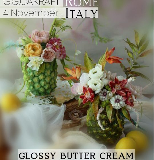 Ananas and Flowers Glossy Butter Cream Tecnique Korean Flowercake workshop con G G Cakraft