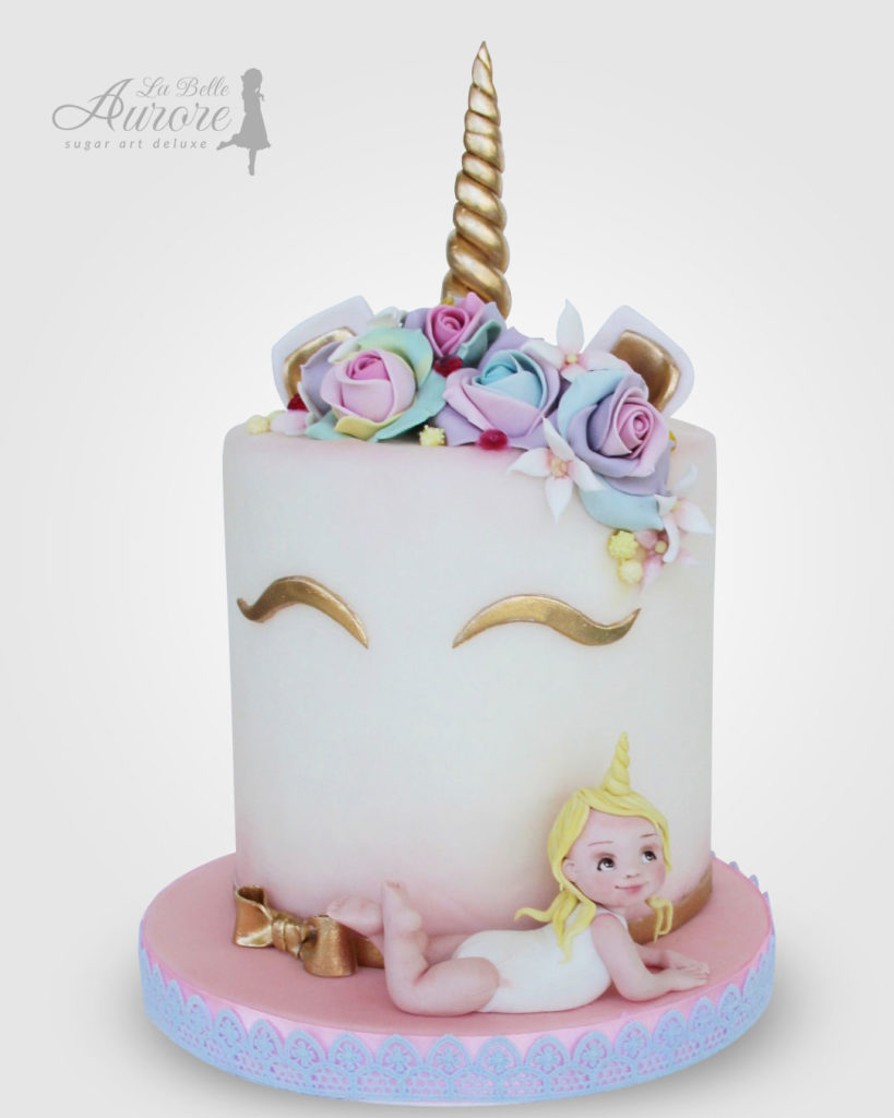 Unicorn cake decorating - Cake design creative lab roma La Belle Aurore