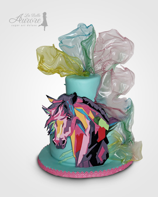 unicorn - multilayer tecniques -cake design roma La Belle Aurore